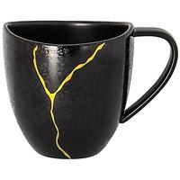 RAK Porcelain KZSWCU23G2 Kintzoo 7.8 oz. Black Porcelain Cup with Gold Detail - 12/Case