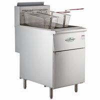 Main Street Equipment Natural Gas 70-100 lb. Stainless Steel Floor Fryer - 150,000 BTU