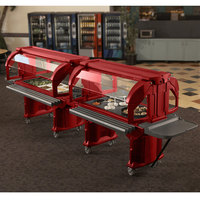 Cambro VBRHD6158 Hot Red 6' Versa Food / Salad Bar with Heavy Duty Casters