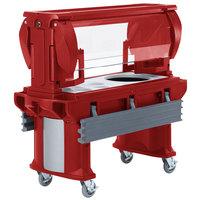 Cambro VBRHD6158 Hot Red 6' Versa Food / Salad Bar with Heavy-Duty Casters