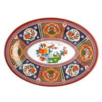 Peacock 9 7/8 inch x 7 1/4 inch Oval Melamine Platter - 12 / Pack