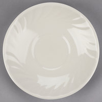 Tuxton MEE-056 Meridian 5 3/4 inch Ivory (American White) Swirl Rim China Saucer - 36/Case