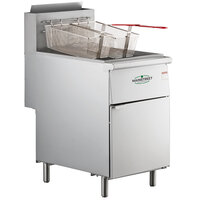 Main Street Equipment Liquid Propane 70-100 lb. Stainless Steel Floor Fryer - 150,000 BTU