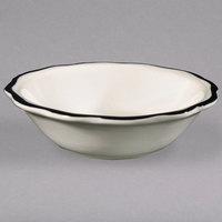 5 oz. Seville Ivory (American White) Scalloped Edge China Fruit / Monkey Dish with Black Band - 36/Case