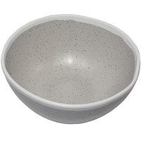 GET B-302-DVG Pottery Market 24 oz. Glazed Grey Melamine Bowl with White Trim - 12/Case