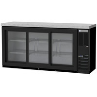 Beverage-Air BB72HC-1-GS-B-27 72 inch Black Sliding Glass Door Back Bar Refrigerator with Stainless Steel Top - 115V