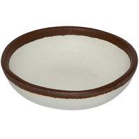 GET B-35-CRM Pottery Market 2.5 oz. Glazed Cream Melamine Ramekin with Brown Trim   - 48/Case