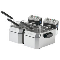 Waring WDF1550D Double 15 lb. Commercial Countertop Deep Fryer Set - 240V