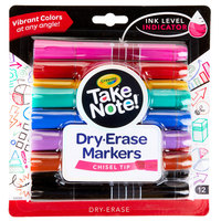 Crayola 586545 Take Note 12-Count 9 Assorted Color Chisel Tip Dry Erase Markers