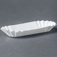 Medium Weight 6 inch White Paper Fluted Hot Dog Tray - 3000/Case