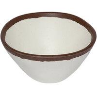GET B-81-CRM Pottery Market 8 oz. Glazed Cream Melamine Bowl with Brown Trim - 24/Case