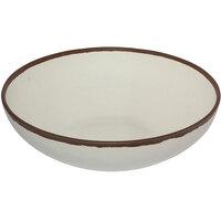 GET B-330-CRM Pottery Market 5.5 Qt. Glazed Cream Melamine Bowl with Brown Trim - 3/Case