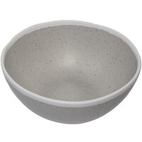 GET B-303-DVG Pottery Market 1 Qt. Glazed Grey Melamine Salad Bowl with White Trim - 12/Case