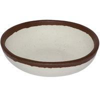 GET B-55-CRM Pottery Market 4.5 oz. Glazed Cream Melamine Ramekin with Brown Trim   - 48/Case