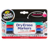 Crayola 586541 Take Note 4-Count Assorted Color Fine Tip Dry Erase Markers