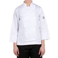 Chef Revival LJ028-2X Knife and Steel Size 20 (2X) White Customizable Ladies Long Sleeve Chef Jacket - Poly-Cotton Blend with Cloth Knot Buttons