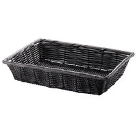 Tablecraft 2488 Black Rectangular Woven Basket 14 inch x 10 inch x 3 inch