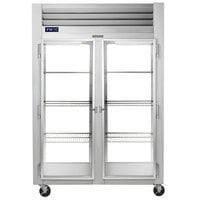 Traulsen G21014P 2 Section Glass Door Pass-Through Refrigerator - Left / Right Hinged Doors