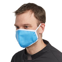 Mercer Culinary M69010LB Customizable Light Blue Reusable Non-Woven Polypropylene Anatomical Protective Face Mask - 8 1/2 inch x 5 1/4 inch