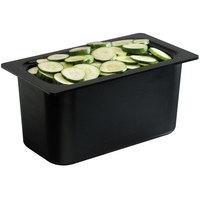 San Jamar CI7002BK Chill-It 1/3 Size Black ABS Plastic Divided Food Pan - 6 inch Deep