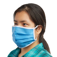 Mercer Culinary M69011LB Customizable Light Blue Reusable Non-Woven Polypropylene Pleated Protective Face Mask - 8 3/4 inch x 3 3/8 inch