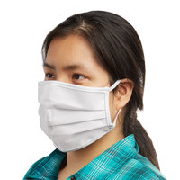 Mercer Culinary M69011WH Customizable White Reusable Non-Woven Polypropylene Pleated Protective Face Mask - 8 3/4 inch x 3 3/8 inch