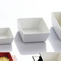 CAC F-BW4 Fortune 3 1/2 inch Square China Tasting Bowl - White - 48/Case