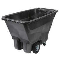 Rubbermaid 0.5 Cubic Yard Black Tilt Truck / Trash Cart with Hinged Dome Lid (850 lb.)
