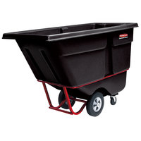 Rubbermaid 1 Cubic Yard Black Rotomolded Tilt Truck / Trash Cart with Hinged Dome Lid (2100 lb.)