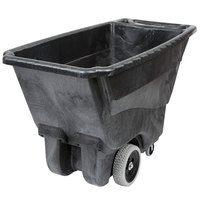 Rubbermaid 0.5 Cubic Yard Black Tilt Truck / Trash Cart with Hinged Dome Lid (450 lb.)