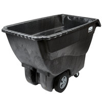 Rubbermaid 0.75 Cubic Yard Black Tilt Truck / Trash Cart with Hinged Dome Lid (1000 lb.)