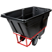 Rubbermaid 1 Cubic Yard Black Rotomolded Tilt Truck / Trash Cart with Hinged Dome Lid (1250 lb.)