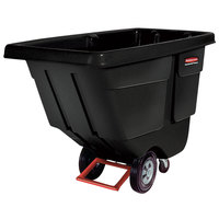 Rubbermaid 0.5 Cubic Yard Black Rotomolded Tilt Truck / Trash Cart with Hinged Dome Lid (450 lb.)