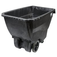 Rubbermaid 0.75 Cubic Yard Black Tilt Truck / Trash Cart with Hinged Dome Lid (600 lb.)