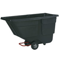Rubbermaid 0.5 Cubic Yard Black Rotomolded Tilt Truck / Trash Cart with Hinged Dome Lid (300 lb.)