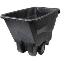 Rubbermaid 1 Cubic Yard Black Tilt Truck / Trash Cart with Hinged Dome Lid (1250 lb.)