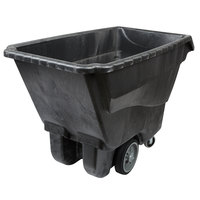 Rubbermaid 1 Cubic Yard Black Tilt Truck / Trash Cart with Hinged Dome Lid (2100 lb.)