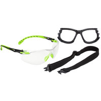 3M S1201SGAF-KT Solus 1000 Series Scotchgard Scratch Resistant Anti-Fog Safety Glasses Kit with Foam and Strap - Green / Black with Clear Lens