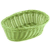 Tablecraft HM1174GN 9 1/4 inch x 6 1/4 inch x 3 1/4 inch Green Oval Rattan Basket - 6/Pack