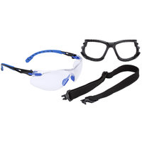 3M S1101SGAF-KT Solus 1000 Series Scotchgard Scratch Resistant Anti-Fog Safety Glasses Kit with Foam and Strap - Blue / Black with Clear Lens