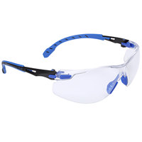 3M S1101SGAF Solus 1000 Series Scotchgard Scratch Resistant Anti-Fog Safety Glasses - Blue / Black with Clear Lens