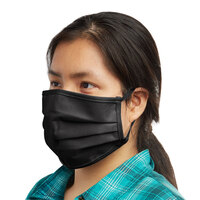 Mercer Culinary M69011BK Customizable Black Reusable Non-Woven Polypropylene Pleated Protective Face Mask - 8 3/4 inch x 3 3/8 inch