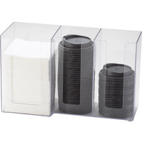 Cal-Mil 375-12 Classic Clear Acrylic 3-Section Countertop Cup, Lid, and Napkin Organizer