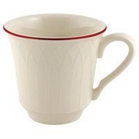 Homer Laughlin Gothic Maroon Jade 7.5 oz. Off White China Cup - 36/Case