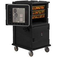 Cambro UPCHT16002110 Black Ultra Camcart Two Compartment Heated Holding Pan Carrier with Casters, Top Compartment Heated - 220V (International Use Only)