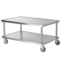 Vollrath 4087948 48 inch x 30 inch Stainless Steel Heavy Duty Mobile Equipment Stand with Undershelf and Casters