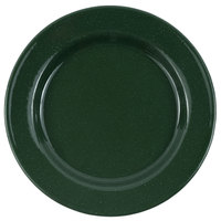 Crow Canyon Home K20GRN Stinson 10 1/4 inch Forest Green Speckle Wide Rim Enamelware Plate