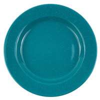 Crow Canyon Home K99TUR Stinson 8 inch Turquoise Speckle Wide Rim Enamelware Salad Plate