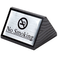American Metalcraft SIGNS7 Black Wood No Smoking Sign - Double-Sided