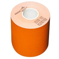 3 1/8 inch x 160' Orange Side-Edge Adhesive Sticky Media Linerless Receipt Paper / Label Roll - 24/Case